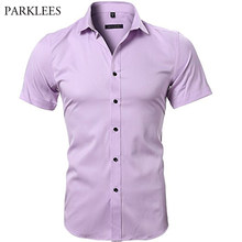 e6cc9e1d88b0a Mens Bamboo Fiber Shirt 2018 Summer Brand New Elastic Dress Shirts Casual  Slim Fit Short Sleeve