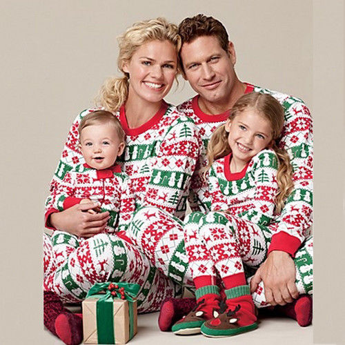 Beand New Family Matching Outfits Christmas Pajamas Set Kids Baby Girl Outfit Clothes T-shirt Tops+Pants Set Pajamas Gifts