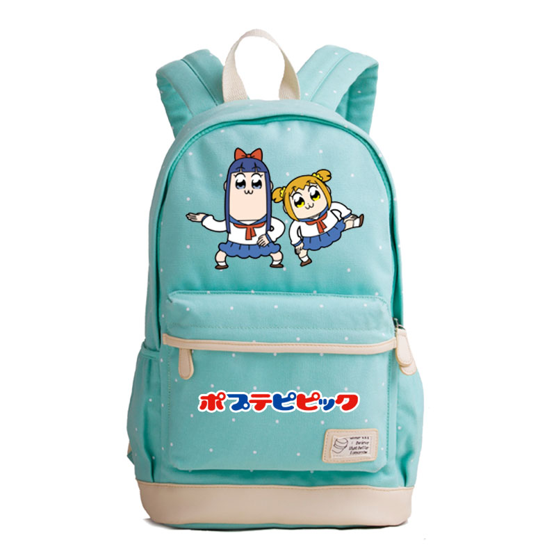 Anime POP TEAM EPIC Kawaii Pipim Popuko Printing Backpack Canvas School Bags for Teenage Girls Travel Backpack Shoulder Bags