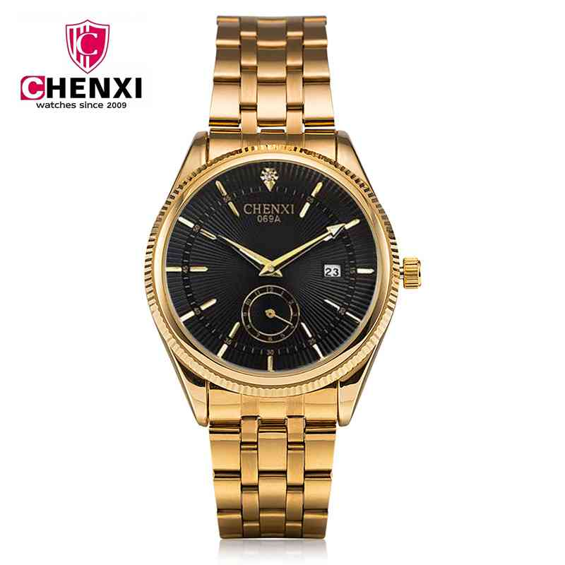 NATATE Top Fashion Brand Luxury CHENXI Watch Men Golden Business Casual Quartz Wristwatch Waterproof Male Relogio Masculino 069A