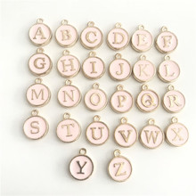 Rose Gold Silver Enamel Letter Necklace Pendants White Pink Initial Pendant Handmade DIY Jewelry Accessorie 5pcs