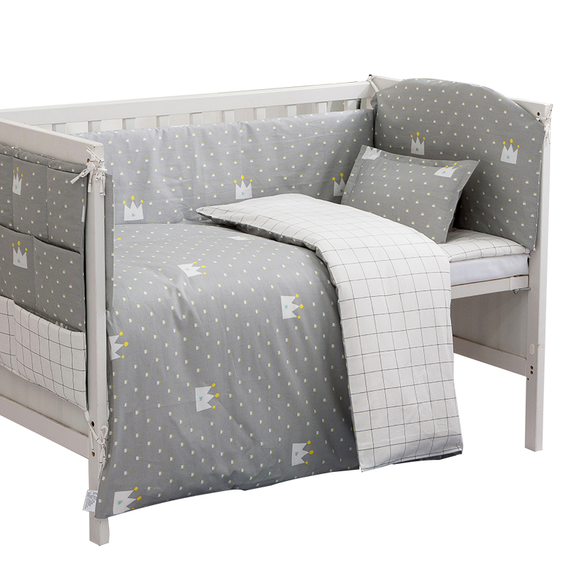 Unisex Baby Bedding Sets Grey Cotton Soft Newborn Crib Supplies Safety Guard Include Bed Quilt Cover/Bumpers Baby Room Decor