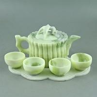 China Lantian jade carved jade bamboo bamboo bundle teapot teapot four cups of tea Kung Fu