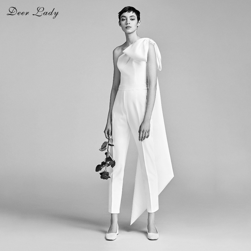 Deer Lady Women Summer Overalls 2018 New Arrivals White One Shoulder Jumpsuit Bodycon Bodysuits Sexy Club Bow Jumpsuit Wholesale ...