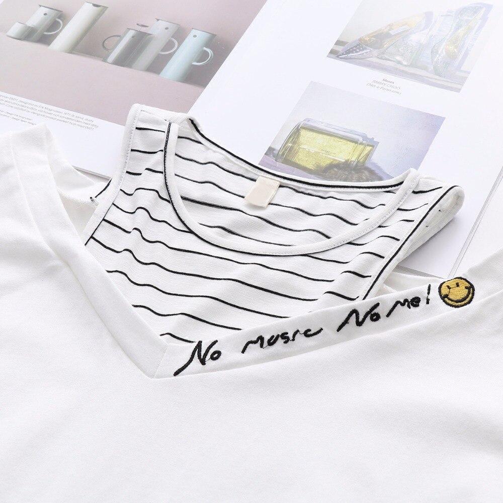 Летние Для женщин топы дамы футболка Femme Повседневное короткий рукав полоса поддельные Двойка Лоскутная футболка 2018 Harajuku белая футболка