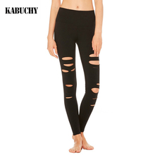 KABUCHY Legging Black Yoga Pants Women Hollow Out Sport Fitness Leggings Gym Clothing 2017 Summer Ropa Deportiva Mujer Gym