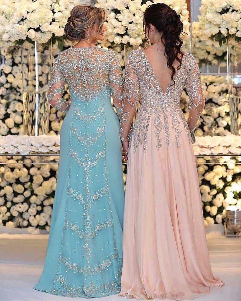 Vestidos de graduación de talla grande de sirena de encaje de cristal de lujo 2018 ilusión de manga larga de espalda completa Dubai árabe caftán vestido de noche