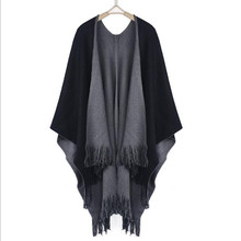 2017 New Winter Women Overwear Coat Oversized Knitted Cashmere Poncho Capes Duplex Shawl Cardigans Sweater With Tassel New(China)