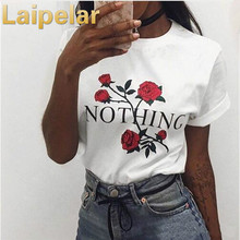 Nothing Letter Rose Print Female T Shirt  Harajuku T-Shirts Women 2018 New Summer Short Sleeve Casual Clothing Punk Tee Tops