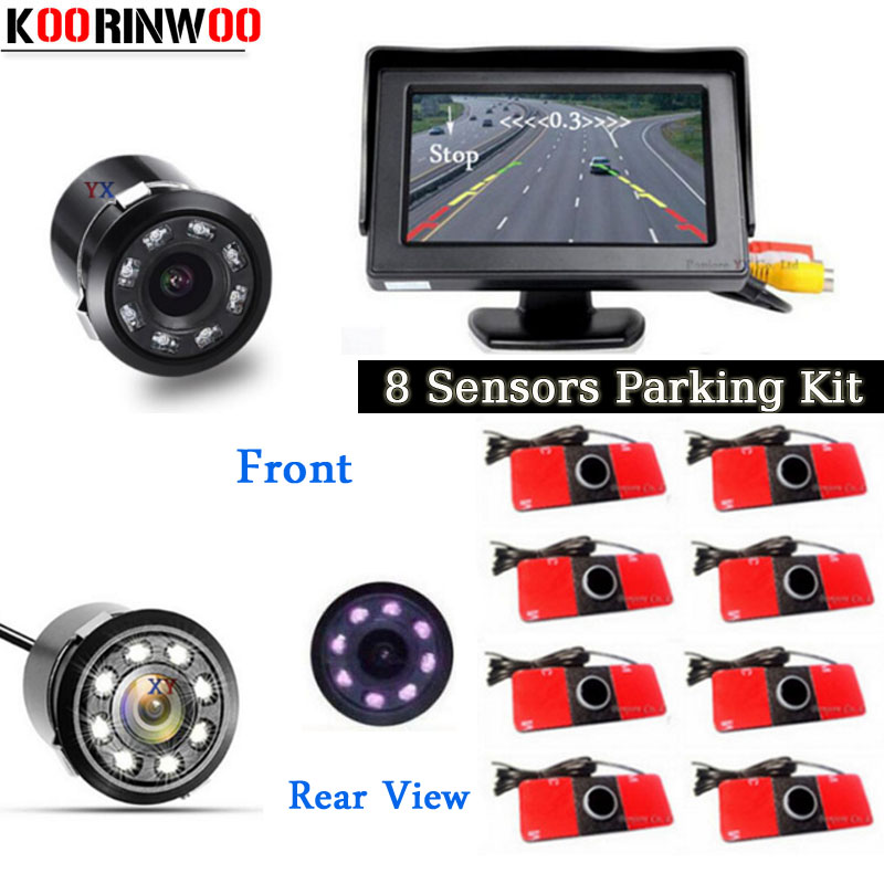 Koorinwoo 4In1 Car Monitor Reverse Radar 8 Probes Car Parking sensor Beep Alarm Parktronic with rear view camera Automobiles koorinwoo 4 in 1 car parking sensor 8