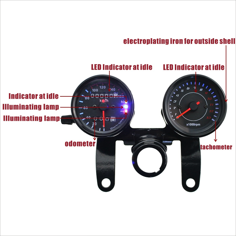 Iztoss12v Motorcycle Scooter Black Led Odometer Speedometer Gauge Suzuki Tach Wiring Diagram And 13000rpm Tachometer For Cafe Racer Honda Kawasaki In Instruments From