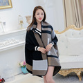 Za Women Oversized Blanket Cashmere Scarf 2016 Winter Fashion Brand Tartan Pashmina Scarf Stole Popular Design Poncho And Capes