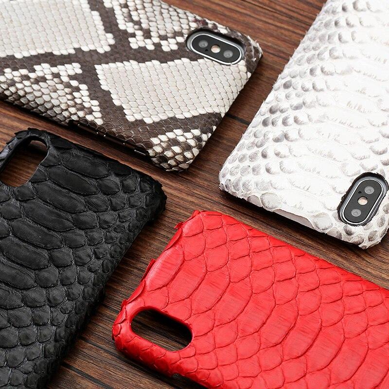 Cuir peau de python couverture arrière pour iPhone x étui peau de python étui de téléphone personnalisé haut de gamme pour iPhone 6 s 7 8 plus - 4