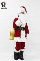 2018 Nuovo Arrivo Costume di Babbo Natale Vestiti Cosplay di Natale tuta Top Pantaloni Cappello Parrucca Barba Cintura Scarpa Guanti Bianchi occhiali