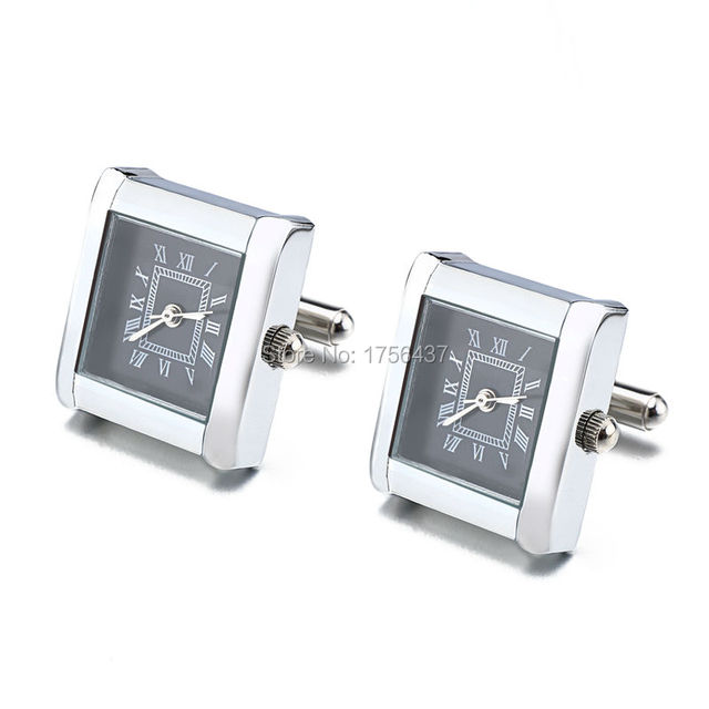 Lepton Functional Watch Cufflinks For Men Square Real Clock Cuff links With Battery Digital Mens Watch Cufflink Relojes gemelos 5