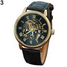 3 Color Men's Fashion Roman Numerals Mechanical Skeleton Hollow Dial Wrist Watch Gift automatic watch все цены