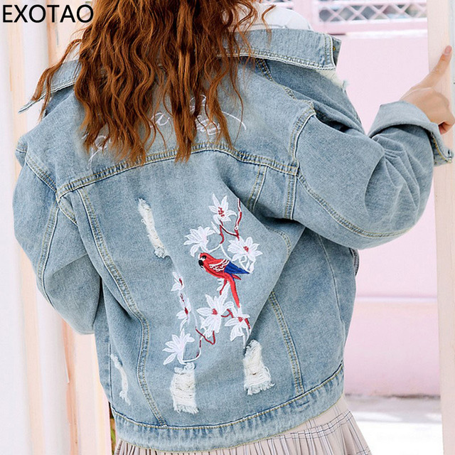 cb00e52ffe149 EXOTAO Back Embroidery Design Denim Jackets for Women Long Sleeve Turn-down  Collar Jeans Coats Ripped Casaco Female Jaqueta