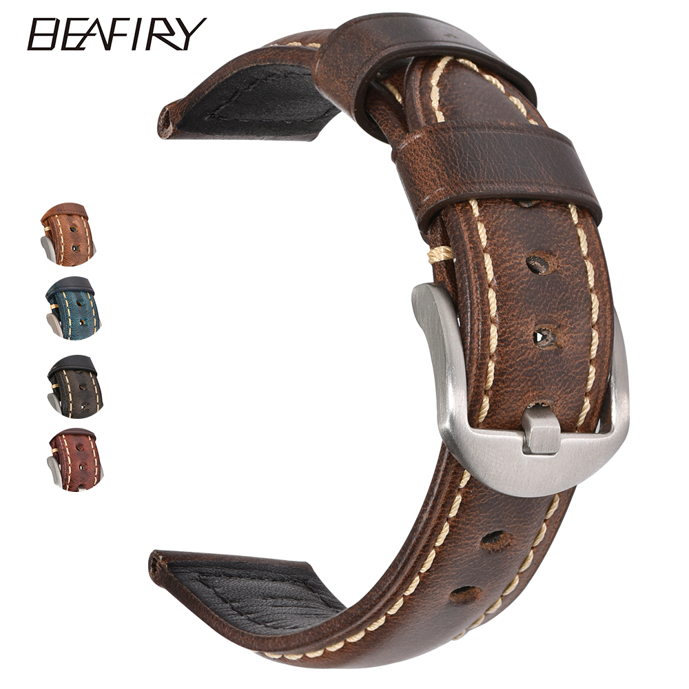 BEAFIRY Fashion Oil Wax Genuine Leather Watch Band 20mm 22mm 24mm Straps  Watchbands Belt With Pin Buckle brown blue black