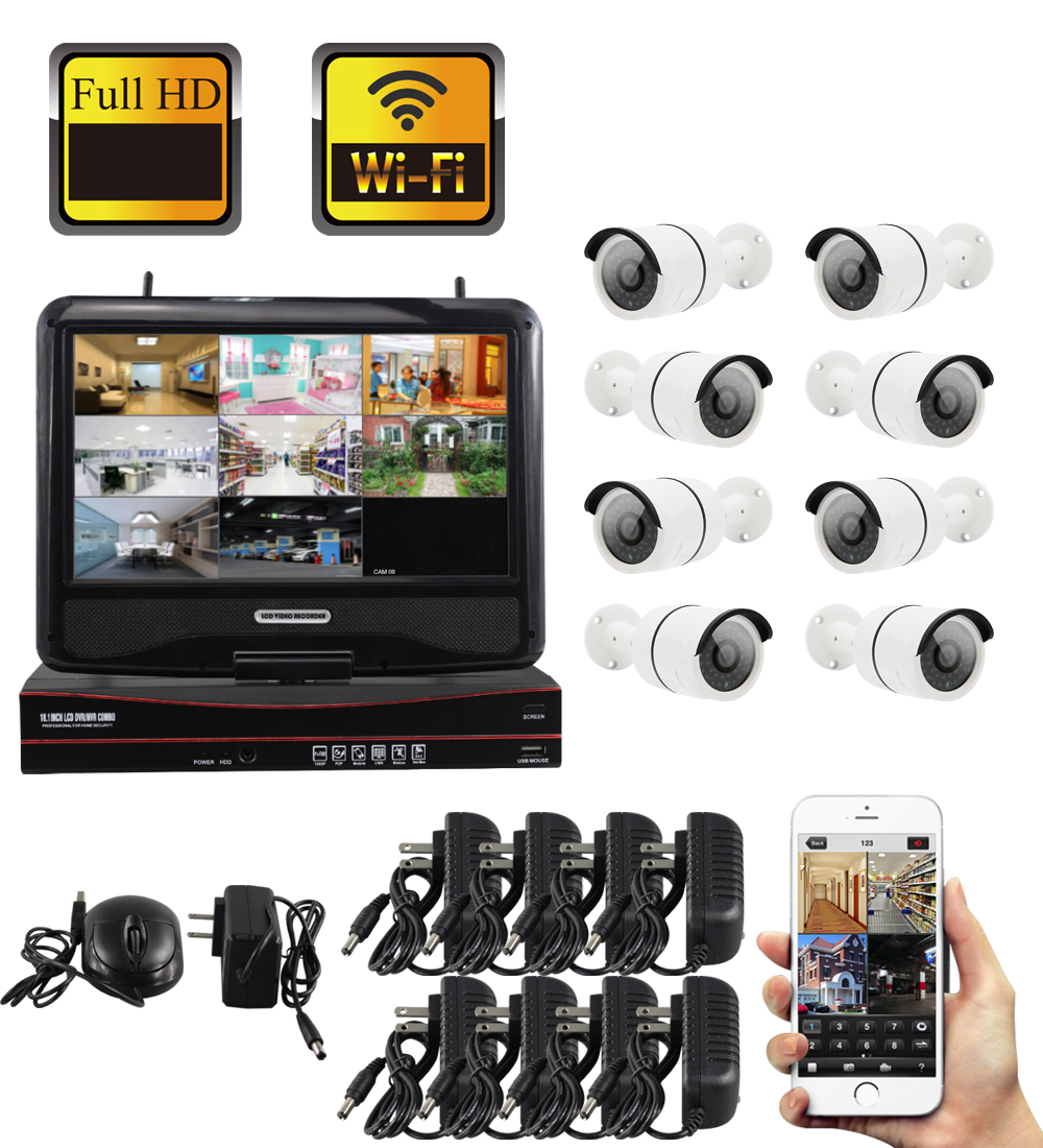 YobangSecurity 10inch Monitor 8CH 960P P2P Wireless NVR KIT WIFI IP Camera System Video Security CCTV Surveillance Camera System