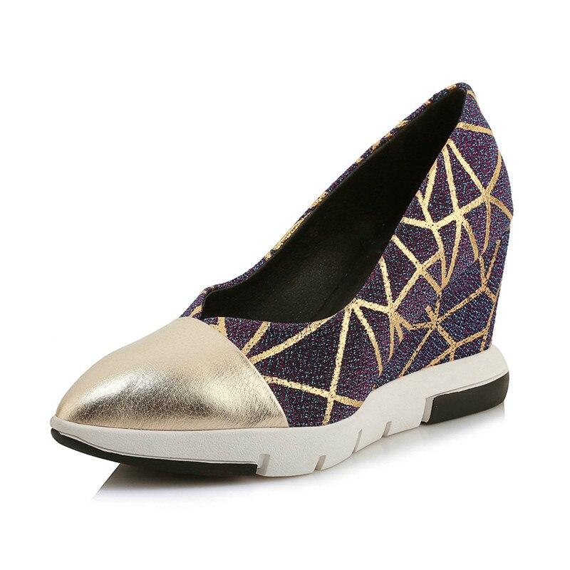 oro Cuña Super Colores En Deslizamiento Negro Primavera Zapatos Mezclados Mujeres Superficial 2019 Alta De Conciso Oficina Las Superestrella Fiesta L71 wqIOSH