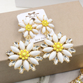 2016 fashion luxurious baroque crystal earrings long cosmos yellow flower earrings earrings vintage jewelry