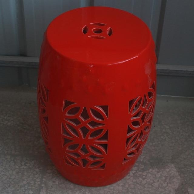 Merveilleux Hollow Red Jingdezhen Porcelain Chinese Garden Stools Ceramic Toilet Stool  Bathroom Stool Dressing Toilet Stool