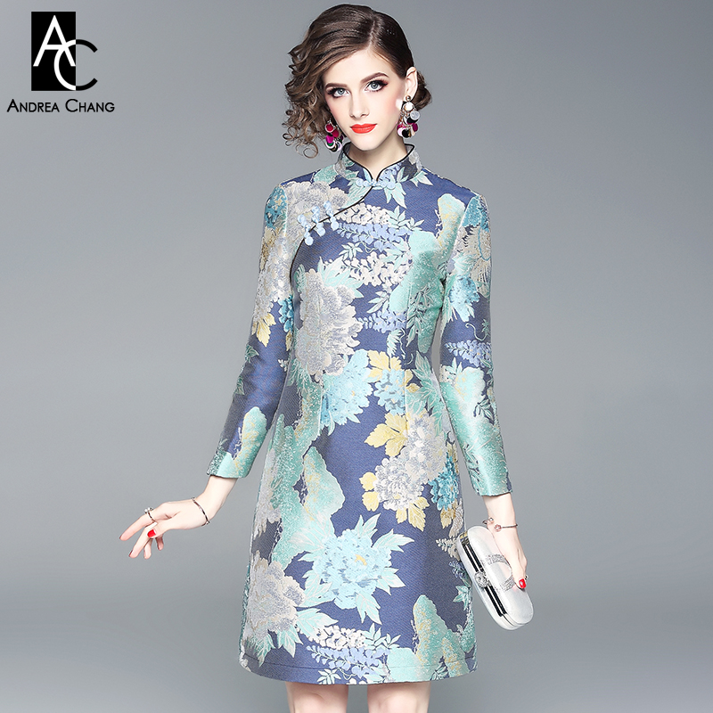 spring autumn woman dress blue floral pattern print dress mandarin collar above knee Chinese style vintage fashion XXL dress-in Dresses from Women's Clothing    1