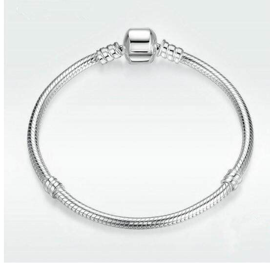 Authenetic 925 Sterling Silver Snake Chain Lobster Clasp Basic Panodra Bracelet Bangle Fit Women Bead Charm DIY Jewelry 925 sterling silver pandora bangle poetic blooms clasp snake chain bracelet bangle fit women bead charm diy europe jewelry