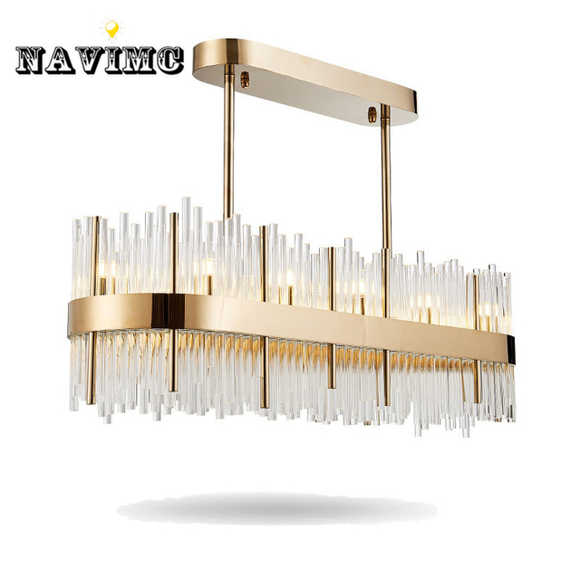 Modern Rectangular Large K9 Crystal Chandelier Lighting For Dining Room Restaurant Bar Post Hanging Pendant