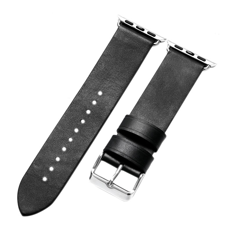 Black 38mm 42mm Leather For Apple Watch Men Strap for Apple Watches High Quality Watchbands Men PD0139 high quality black color leather 38 42mm width apple watch strap band for apple watches