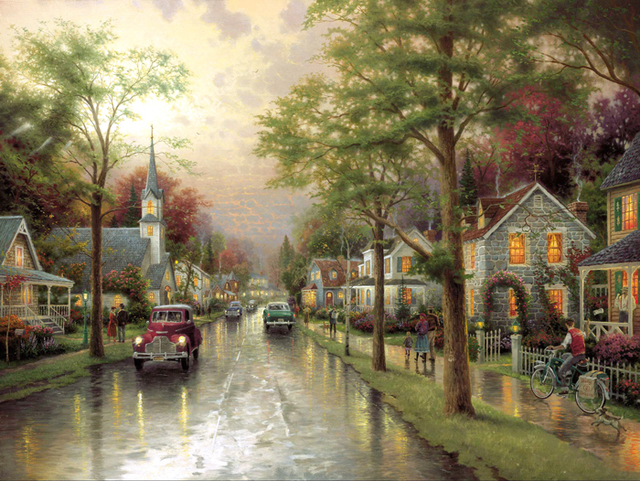 Free shipping classical thomas old car house tree landscape canvas prints oil painting printed on canvas