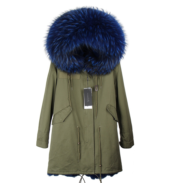 MMK 2017 new fashion women genuine raccoon fur collar hooded coat long parkas winter jacket with thick real faux fur lining 2017 winter new clothes to overcome the coat of women in the long reed rabbit hair fur fur coat fox raccoon fur collar