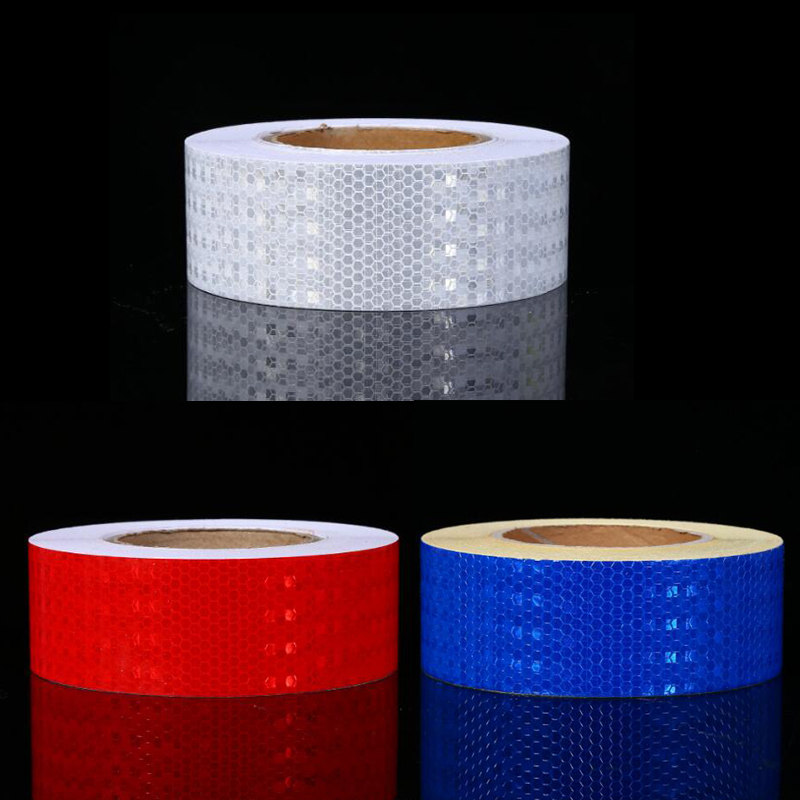 5cmx30m Reflective Bicycle Stickers Adhesive Tape For Bike Safety White Red Yellow Reflective Bike Stickers Bright And Translucent In Appearance Roadway Safety