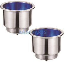 2PCS Stainless Steel Cup Drink Holder with Drain 12V Blue LED for Boat Marine RV