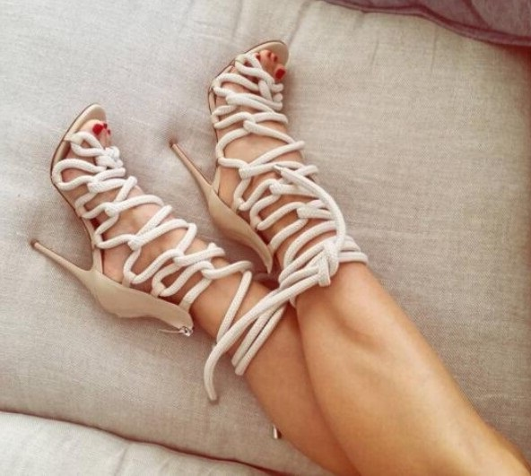 Rope Braided Lace-up High Heel Sandal Sexy Open toe Cut-out Gladiator Strappy Sandal Woman Women Dress Shoe Big Size 10 hot sale open toe high heel sandal lace up gladiator strappy sandals new arrival spring autumn flock dress shoes women