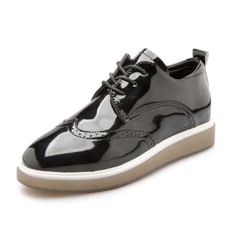 Hung Yau Leather Casual Oxford Flat Shoes Platform Woman