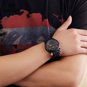 Image 5 - Megir fashion hot mens quartz watches analog chornograph brand wristwatch man silicone band waterproof hour 2004 free shipping