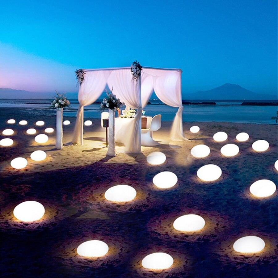 Thrisdar IP68 RGB Stones Shape Garden Landscape Lawn Light USB Rechargeable Hotel Restuarant Stone LED Glowing Night Light