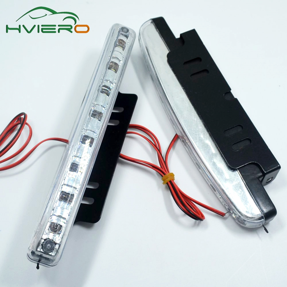 1Pcs Hviero Auto Durable Car Daytime Running Light 8 LED DRL Daylight Super White DC 12V Head Lamp Parking Fog Lights auto super bright 3w white eagle eye daytime running fog light lamp bulbs 12v lights car light auto car styling oc 25