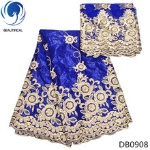BEAUTIFICAL Royal blue Bazin lace fabrics embroidery beads bazin getzner fabric for party dress 7yards african riche DB09