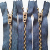50 Pcs/lot Cheap Most Free Shipping YKK Metal Zipper Dark Blue Bronze Copper Trousers Wholesale