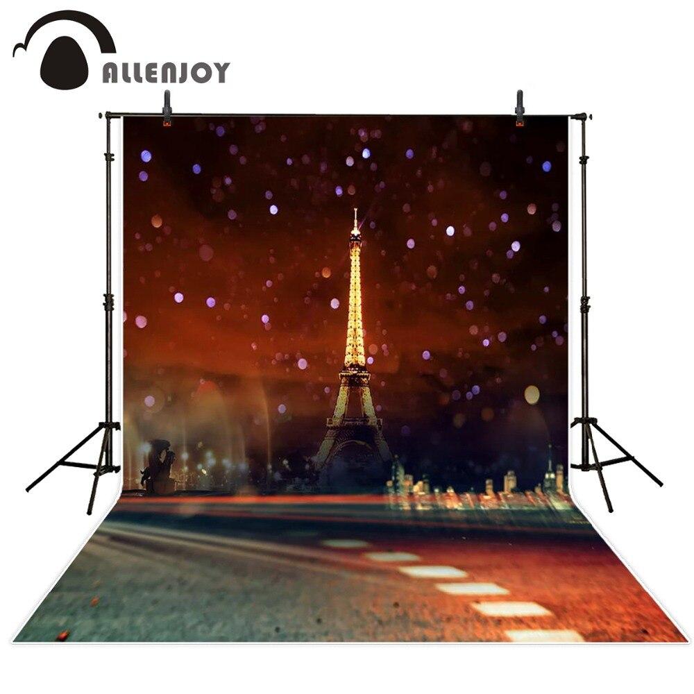 Allenjoy 5ftx7ft Night Road Newborn Baby Photo Studio Backdrop Photography Background Eiffel Tower Star children custom size  недорого