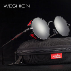 WESHION Steampunk Sunglasses Men Polarized Round Steam Punk Googles Women Ladies Red Circle Glasses 2018 Oculos With Cases UV400
