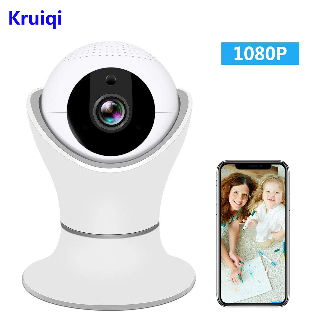 Kruiqi Wireless IP Camera 1080P 2.4GHz Wifi Camera 3D Navigation Panorama View Dome Nest Indoor Security Camera ,Two-Way Audio