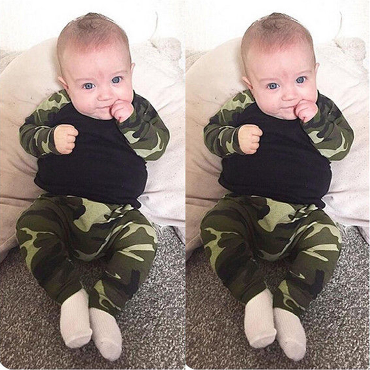 kids boys summer camouflage style infant clothes baby clothing sets boy Cotton little monsters full