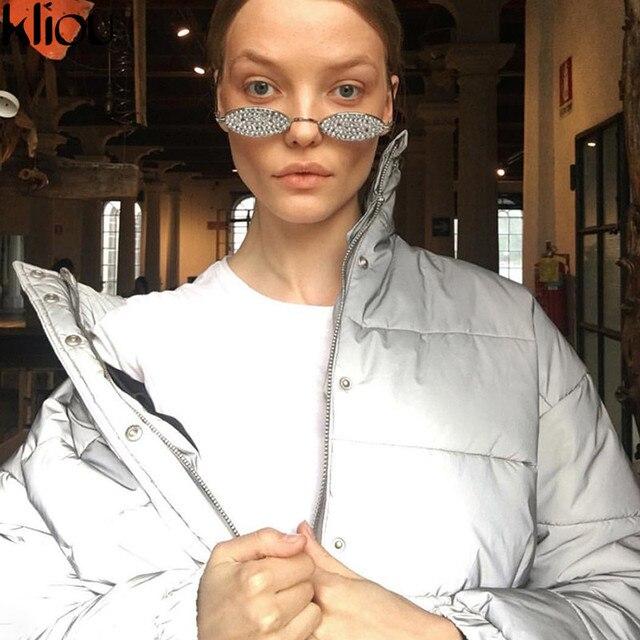 Kliou 2018 winter women fashion Reflector Cotton-padded jacket high waist zipper fly pockets female casual thick warm clothing 5