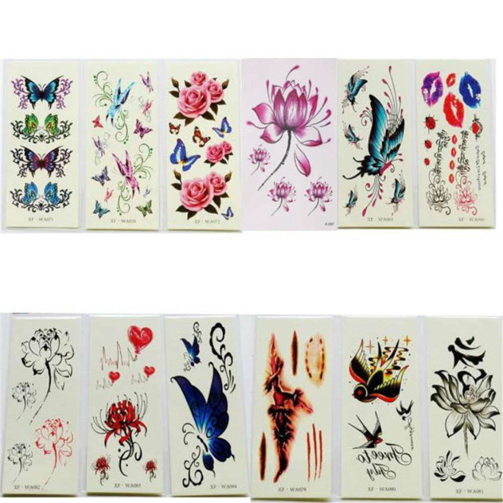 2017 татуировки Водонепроницаемый Временные татуировки 3D бабочка цветок поддельные татуировки Стикеры татуировки