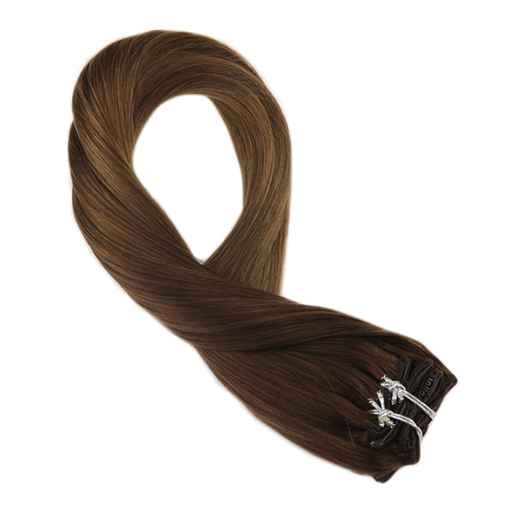 Moresoo Ombre Brown Color T3/6 Remy Clip In Human Hair Extensions Thick Double Weft Full Head Hair Extensions 7Pcs 100g