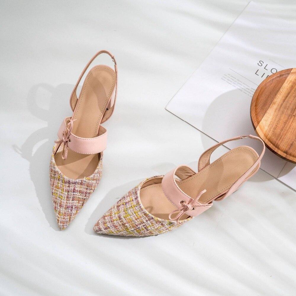 Saliendo Zapatos Azul Desliz Dama Lenkisen Dedo Tacones Natural Sandalias Del Punta Alta Pie Chunky De Belleza Diseño L26 Arte Moda Con Mujer rosado Cuero En Fxx1Hq