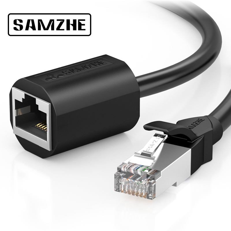 SAMZHE RJ45 Ethernet Extension Cable Adapter  CAT 6 Network Extension Patch Cords Shielded Compatible with CAT 5 CAT 5E CAT 6 networking cables